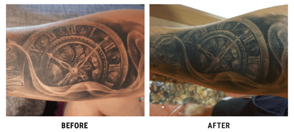 matt harper before and after using tattoo nano shock cream