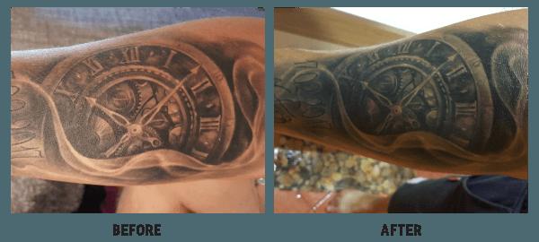 matt harper before and after using tattoo nano shock cream
